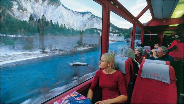 Utazás a gleccser expresszel, St. Moritznál