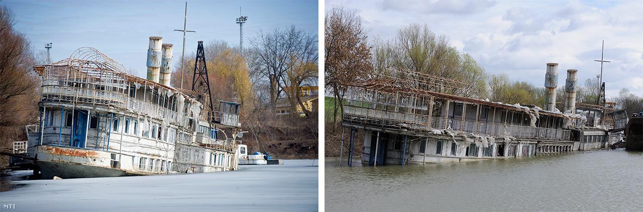 Kombókép a megsüllyedt Szőke Tisza hajóról a szeged-tápéi kikötőben 2012. március elsején (bal) és 2012. március 31-én (jobb). Az olvadó jég benyomta a hajó elkorrodálódott oldallemezét, és a kajütablakokon beömlött a víz, majd az emelkedő folyó fokozatosan ellepte volna a hajótestet, amit ennek megakadályozására egy uszályhoz kötöttek.