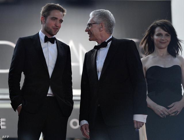 Robert Pattinson, David Cronenberg és Juliette Binoche a Cosmopolis bemutatója után
