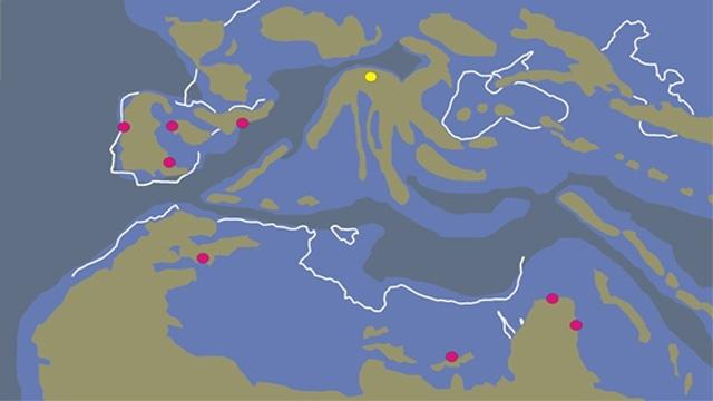 Ősföldrajzi térkép a Bothremydidae teknős lelőhelyekkel(Iharkút sárgával)