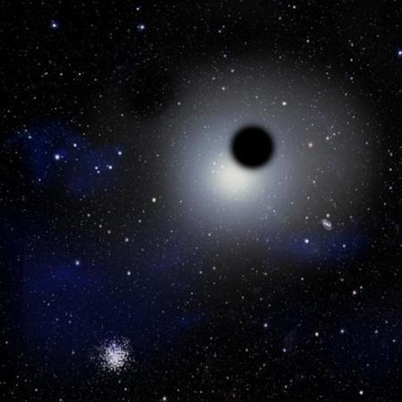 Fantáziarajz a Tejútrendszer szélén egy gömbhalmaz közelében elhaladó csavargó fekete lyukról. [David A. Aguilar (CfA)]