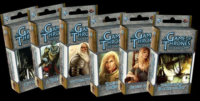 A Vastrón, a Hegy, Ser Barristan, a vérfertőző Lannister-ikrek és a feketevízi ütközet a Trónok harca kártyajáték dobozain