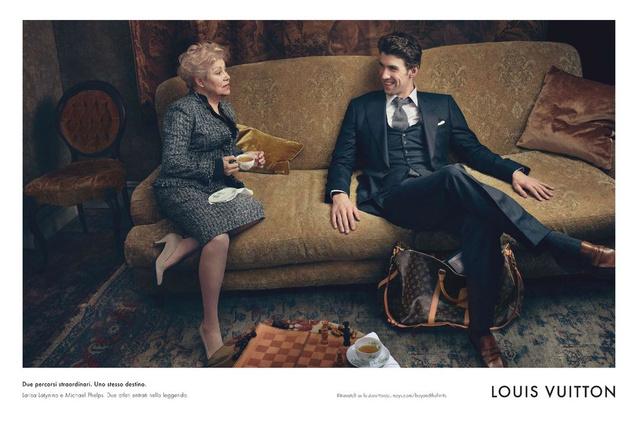 """Az új Louis Vuitton Alapvető Értékek kampány 2012. augusztus 16-án jelenik meg világszerte a legnagyobb nemzetközi lapokban. A szlogen így szól: """"Két különleges utazás. Csak egy odavezető út. Larissza Latinyina és Michael Phelps. Egy tornász- és egy úszólegenda."""""""