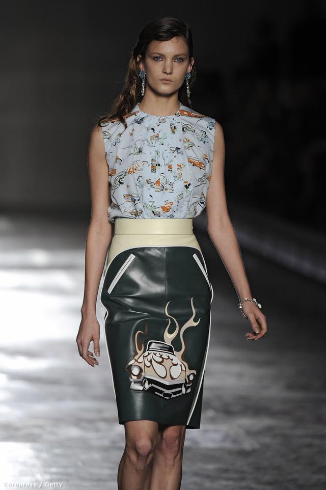 Retro bőrszoknyával nagy sikert aratott a márka Milánóban.