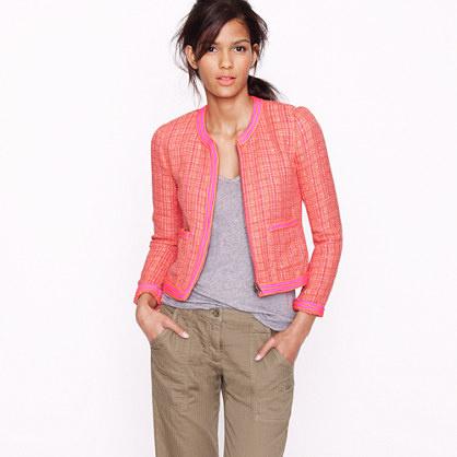 Rózsaszín tweed kabát 80 ezerért a Plaid bouclé -től.