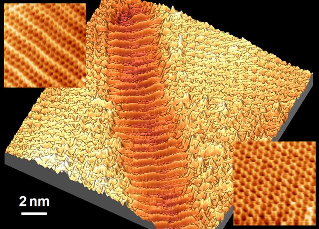A réz felületét folytonosan borító  grafénréteg nanométerű hullámai, amelyek az 5 nanométer széles réz árkok felett