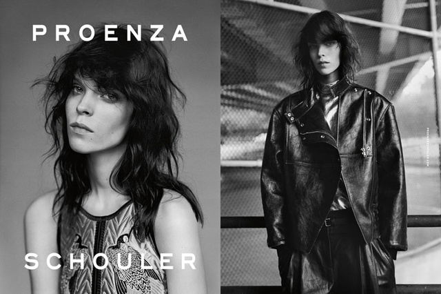 Alasdair McLellan Patti Smithre hajazó modellje a Proenza Schouler kampányban.