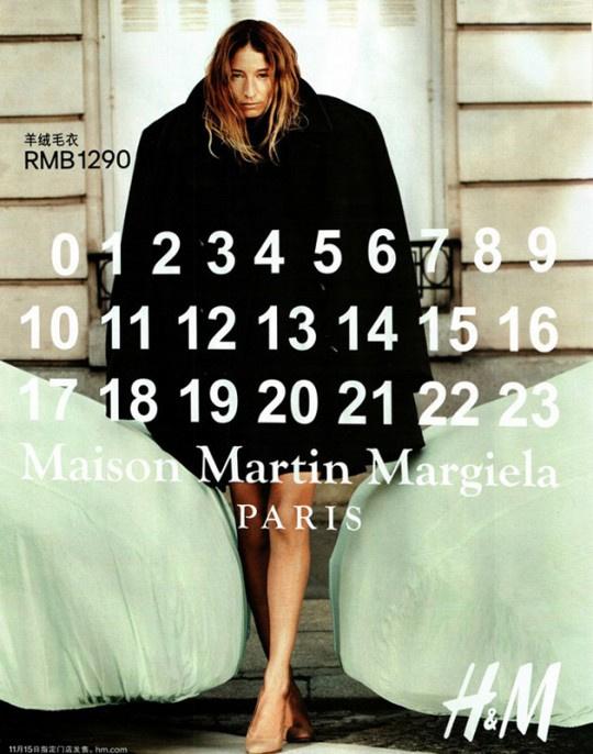 Fekete Maison MArtin Margiela kabát 44.900 forint a H&M-ben.