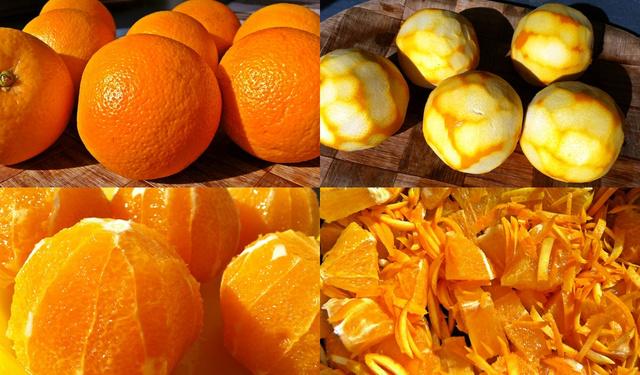 1. narancs, 2. a vékony narancssárga héj levágása után, 3. a fehér rész levágása után, 4. a lábasban a felcsíkozott héjakkal