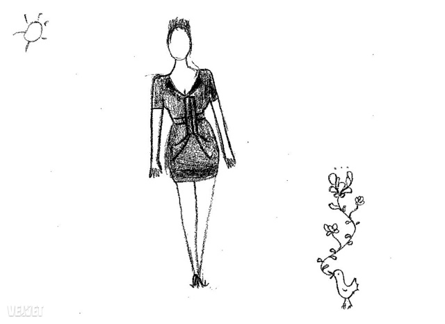 Ezt a fekete, ravaszul varrt ruhát viselte ördög az első döntőn. A szabás miatt a ruha egy kis távolságot tartott viselőjétől, a hasnál elhelyezett betétek semmit sem mutattak meg. Így néz ki egy tökéletesen őrzött titok.