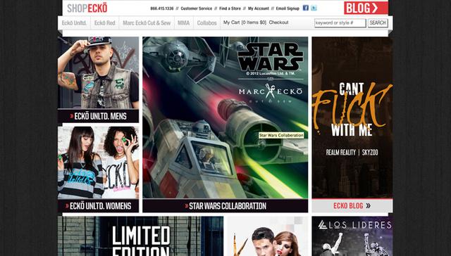 Marc Ecko kollázs-szerű honlapja a fiatalabb generációt kívánja megcélozni.