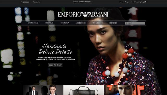 Éles, merész, színes és figyelemfelkeltő oldal Armanitól.
