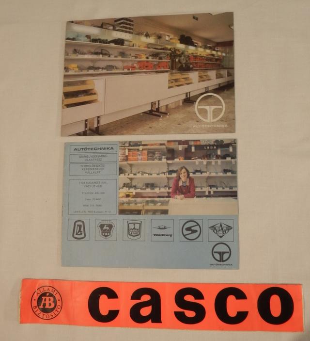 Autótechnika - lazán köthető, de az NDK-s sátras utánfutók és lakókocsik importőre és alkatrész-ellátója volt. A Casco-matrica pedig természetesen eredeti, 1983-ban adta az Állami Biztosító egy Lada biztosítási kötvénye mellé
