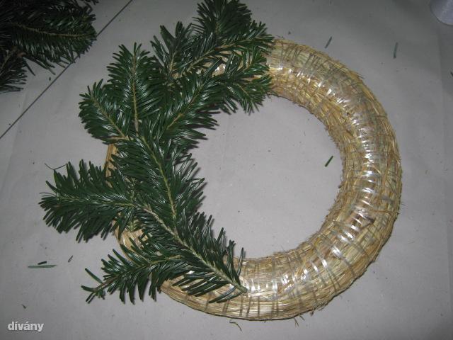 """""""Első lépésként szerezzünk be egy kör alakú szalmaalapot, ezt bármely virágüzletben, vagy hobbiboltban megtehetjük. Szalmán kívül mohából is lehet kapni, az előbbi azért sokkal praktikusabb, mivel a moha egy idő után megszárad a meleg szobában. Erre jönnek rá a kisebb részekre szedett fenyőágak"""" – magyarázza Mihályfi Katalin virágkötő. """"A legjobb választás a normand fenyő, mivel akár egy hónapig is kitart anélkül, hogy hullani kezdenének a tűlevelei. Hogy ki milyen mértékben borítja be vele az alapot, ízlés kérdése, ugyanis van, aki azt szereti, ha kilátszik alóla a szalma, de van, aki még az oldalát is zölddel burkolja.""""                         Hogy feltegyük ezeket az ágakat, be kell szereznünk pár könnyen hajlítható drótot (ezt szintén bármelyik virágboltban megtalálhatjuk), majd belőlük U alakú """"csatokat"""" formálva hozzáerősíthetjük a fenyőt az alaphoz (akinek van otthon ragasztópisztolya, ne féljen ezt használni). Ha a felragasztott ág lelógna az alapról, egyszerűen vágjuk le a kiálló részeket, vagy ragasszuk oda a koszorú olda"""
