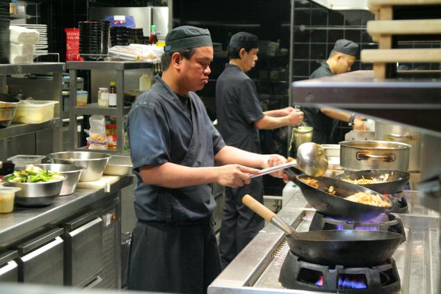 A Kyoto étterem látványkonyhája