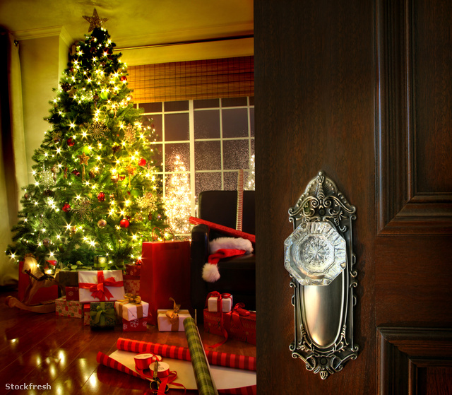 stockfresh 448284 door-opening-into-a-christmas-living-room size