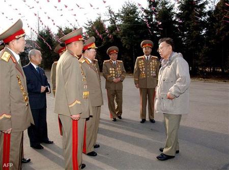 Kim Dzsongil katonai vezetők körében