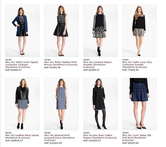 Miss Wu kínálat a Nordstorm honlapján. Nem olcsó.