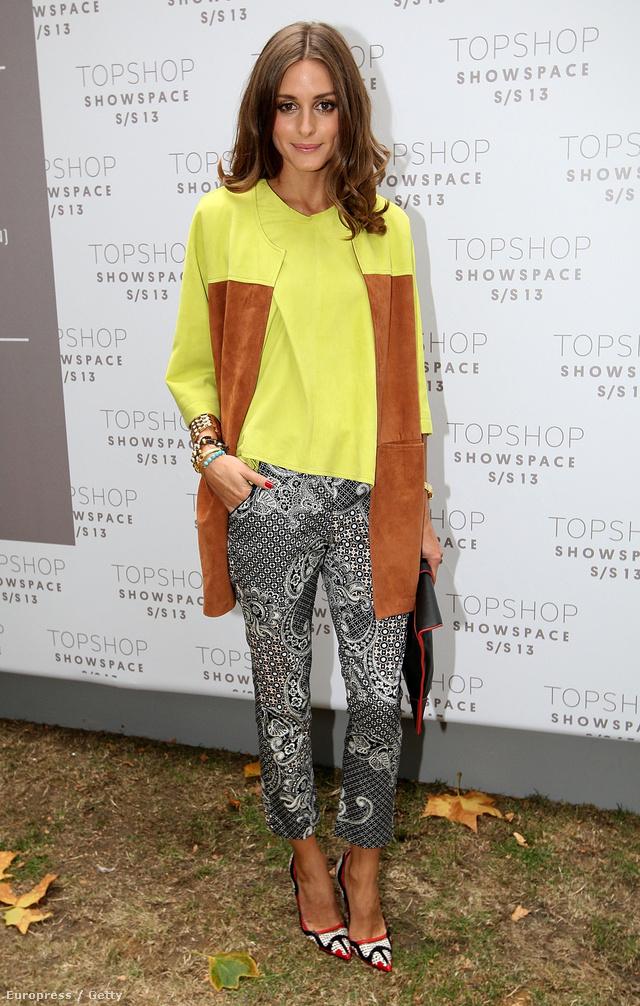 Olivia Palermo színes kabátban Londonban