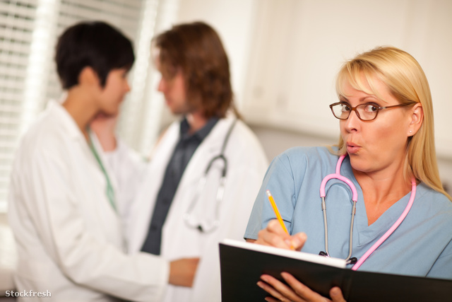 stockfresh 609648 alarmed-medical-woman-witnesses-colleagues-inn