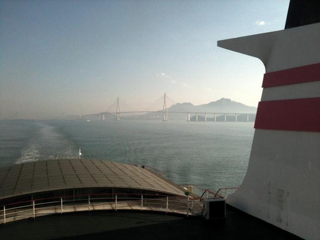 Kilátás a csedzsui hajóról a koreai szárazföld felé.