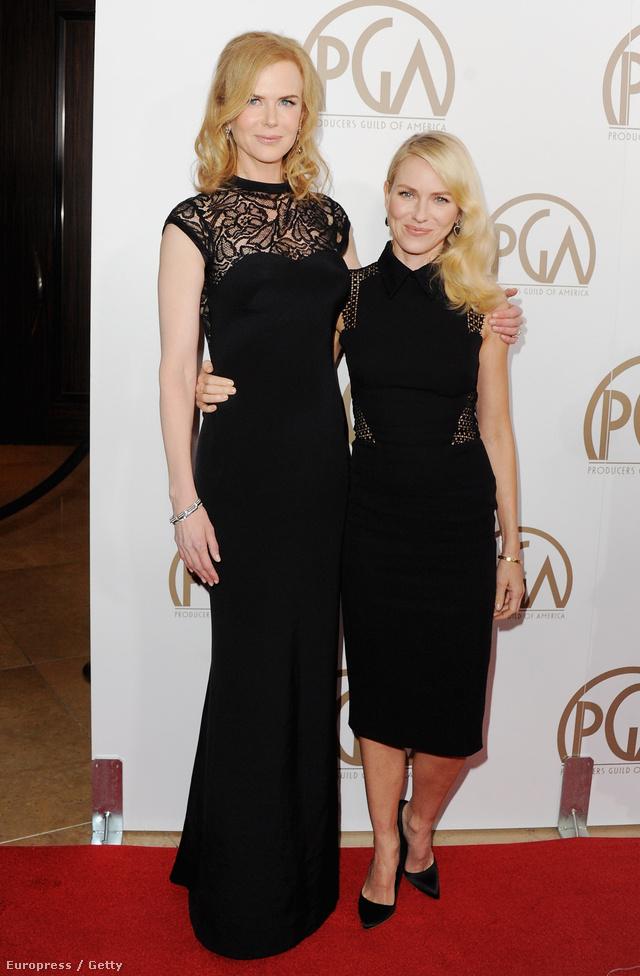 Nicole Kidman és actress Naomi Watts mindketten feketében érkeztek egy Beverly Hills-i vörös szőnyeges eseményre