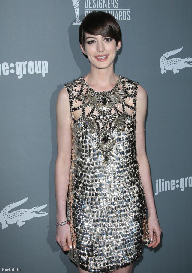 Anne Hathaway Gucciban vette át díját a Jelmeztervezők Céhének 15. éves gáláján.
