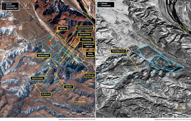 Az egyik Észak-koreai munkatábor 2003-ban és 2013-ban