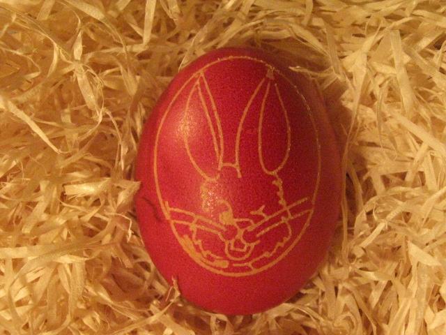 Kész is van a mintás tojás.