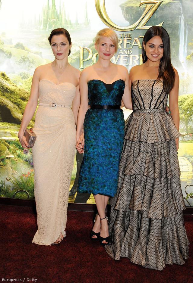 Hollywoodi dívák, Rachel Weisz, Michelle Williams és Mila Kunis csinosban az Óz, a hatalmas premierjén