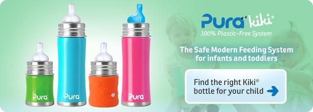 Rozsdamentes acélt minden babának a Pura szerint. A szilikonborítás biztos azért kell, hogy eltakarja az igen ronda logot.