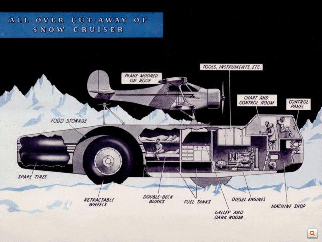 Antarctic snow cruiser cutaway