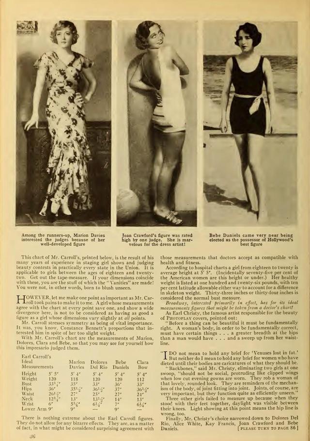 Marion Davies,Joan Crawford  és Bebe Danies a legjobb testalkatú színésznőnek számítottak.
