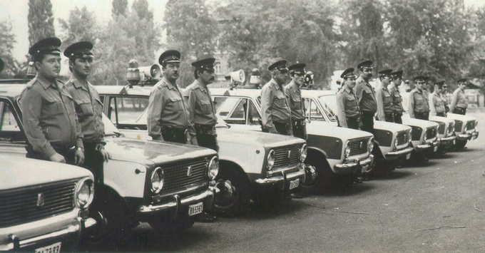Officers receiving their new patrol cars, probably in the early 80's