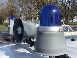 This is how today's LED and Xenon lightbars looked decades ago: conventional lightbulbs and rotating reflectors