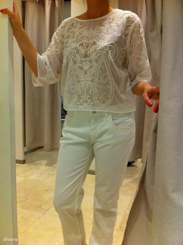 Zara: blúz - 139995 Ft, nadrág - 9995 Ft. A felső szép, de áttetsző és kövérít, a nadrág pedig simán csak csalódás.