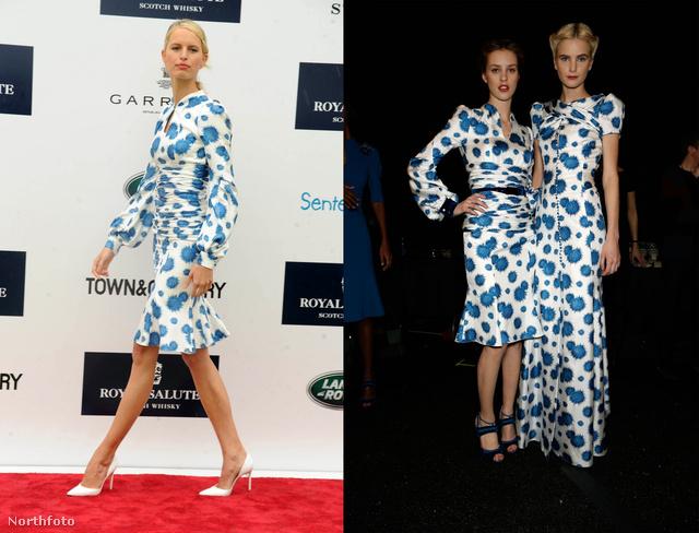 Balra Karolina Kurkova, jobbra a modellek. A ruha dekoltázsa nagyon kifinomult!