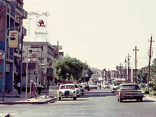 I think this is the Mansour street in Baghdad, in 1970, my father shot it. Spot the Pepsi and the Skoda ads. Oh, and there's a Ponton