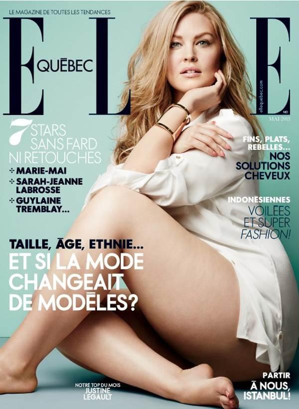 Justine Legaultot a májusban választotta a francia Elle Quebec csontsovány modellek és celebnők helyett címlaplányának, mellyel beállt a plus size modelleket támogató divatlapok és márkák sorába.