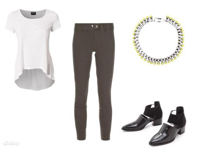 Mi így képzeljük el a sikkes biciklis szerelést: kényelmes nadrág, hosszított póló, lapos bakancs és egy kis neonszínt becsempésző nyaklánc.