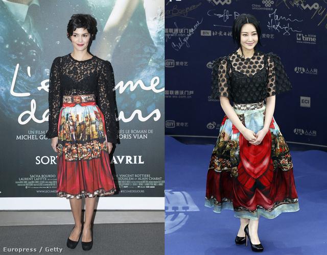 Audrey Tautou és Lin Peng ugyanazt a szoknyát választotta.