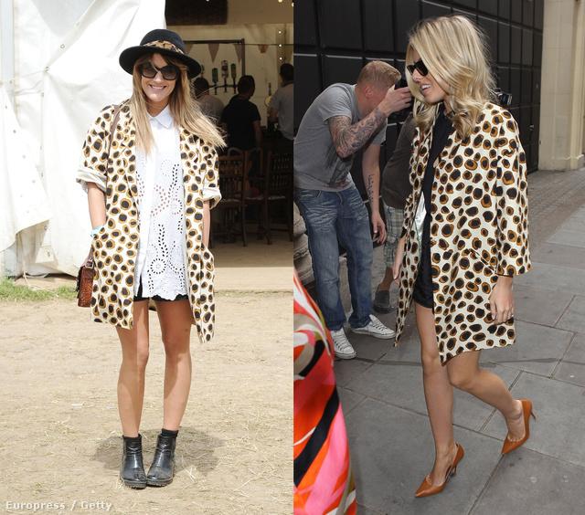Caroline Flack és Mollie King is ugyanazt a mintás kabátkát szemelte ki.
