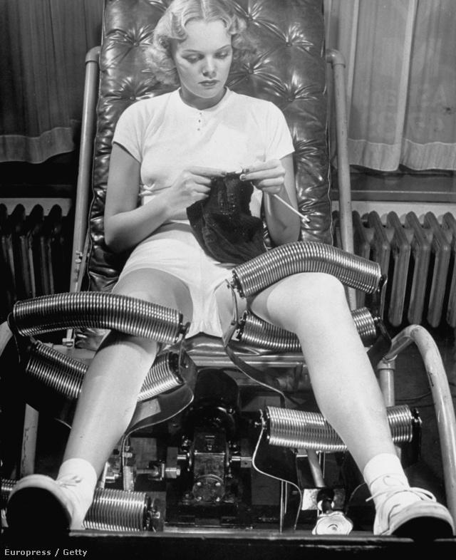 A negyvenes években már rendelkezésre álltak olyan fogyasztó szalonok, ahol mindenféle súlycsökkentő kezelést ki lehetett próbálni, köztük az a fém görgőkkel felszerelt szék is, amin testmasszírozás közben akár kötögetni is lehetett.