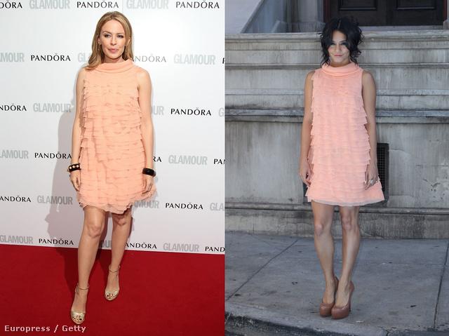 Kylie Minogue decens fehérsége erős kontrasztot mutat Vanessa Hudgens egzotikus bőrszínével. Önnek melyiken tetszik jobban ugyanaz a ruha?