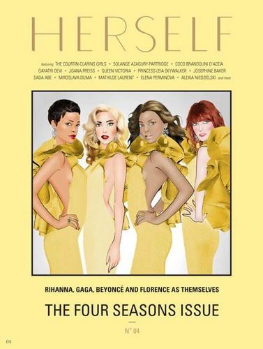 Rihanna, Lady Gaga, Beyoncé és Florence Welch sárga Gucciban a Herself karikatúráján.