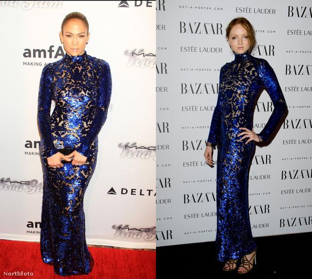 Jennifer Lopez és Lily Cole is szerelmes lett a királykék csillogó és sejtető ruhakölteménybe.