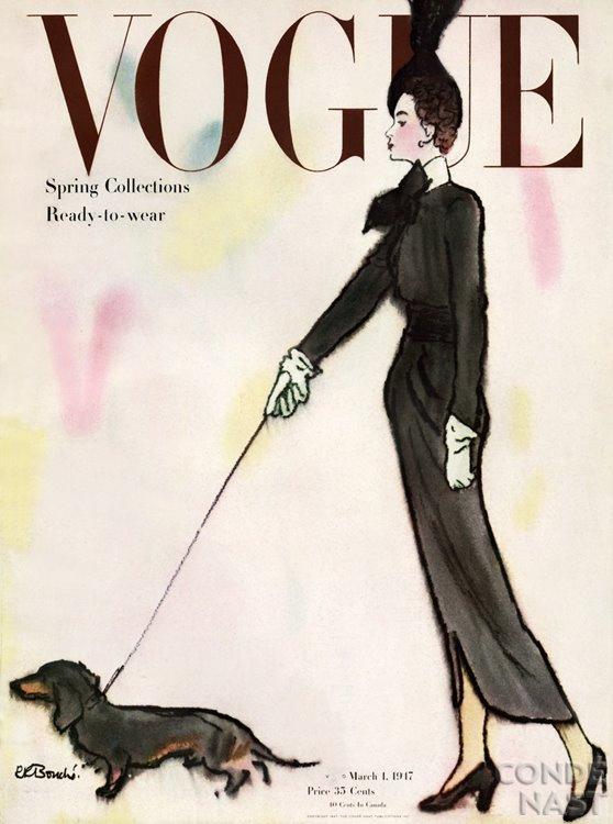 A Vogue-nál már a negyvenes években sikkes volt kutyát címlapra tenni.