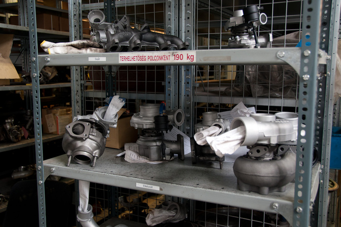 Overhauled turbochargers on the shelf. Could be just as well new ones