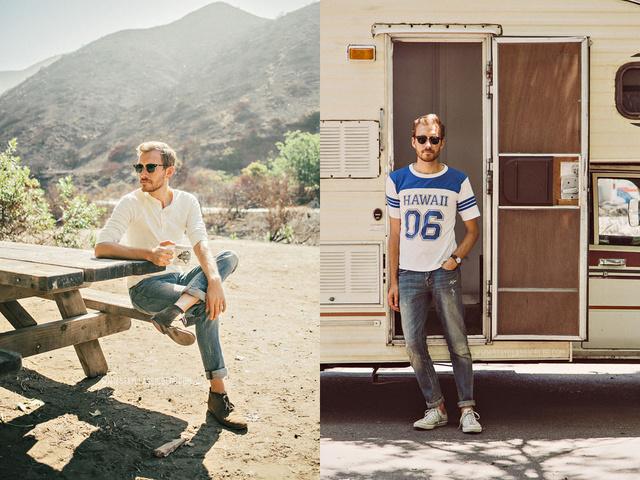 A sportmez és a laza nyári ing is megtalálható Tim Melideo gardróbjában.