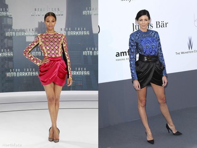 Zoe Saldana és Liberty Ross ugyanazt a kagyló formájú szoknyát viselte, csak eltérő színben.